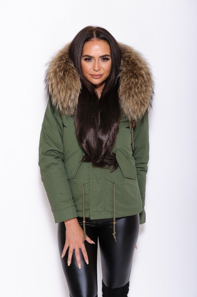 Natural Brown Fur Collar Hood Parka Army Green Jacket