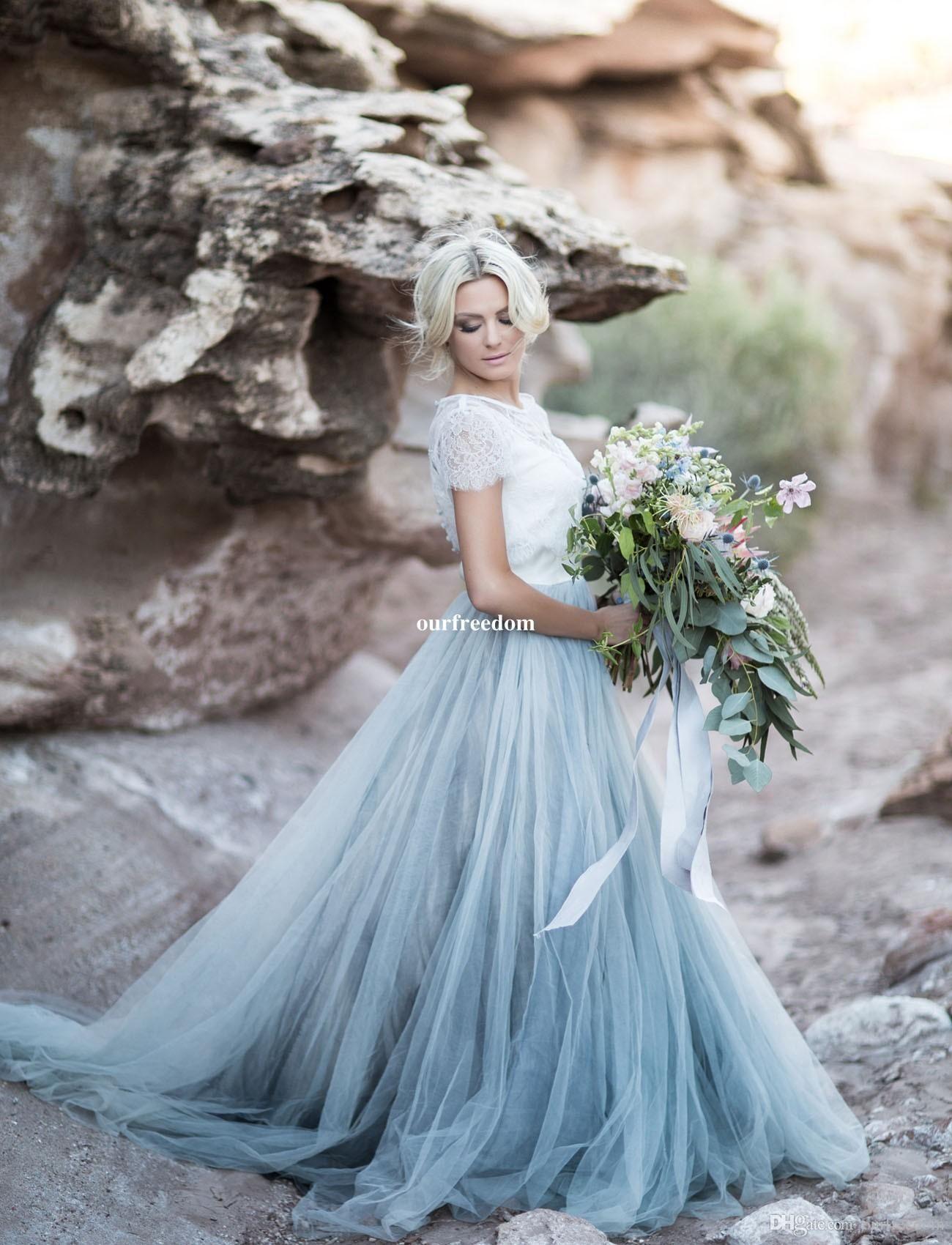Cheap 2017 Fairy Beach Boho Lace Wedding Dresses High Neck A Line ...