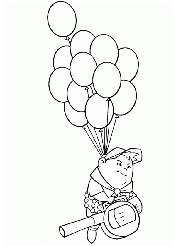 Russell Flying With Baloons In Disney Up Coloring Page Netart Di