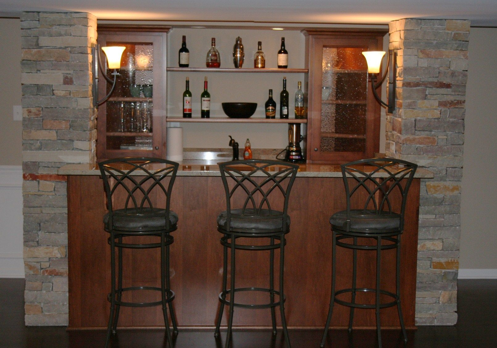 Basement Custom Basement Bar Plans With Bar Table Have Many Chairs And Provide Furniture Chairs S Basement Bar Designs Basement Bar Design Building A Home Bar