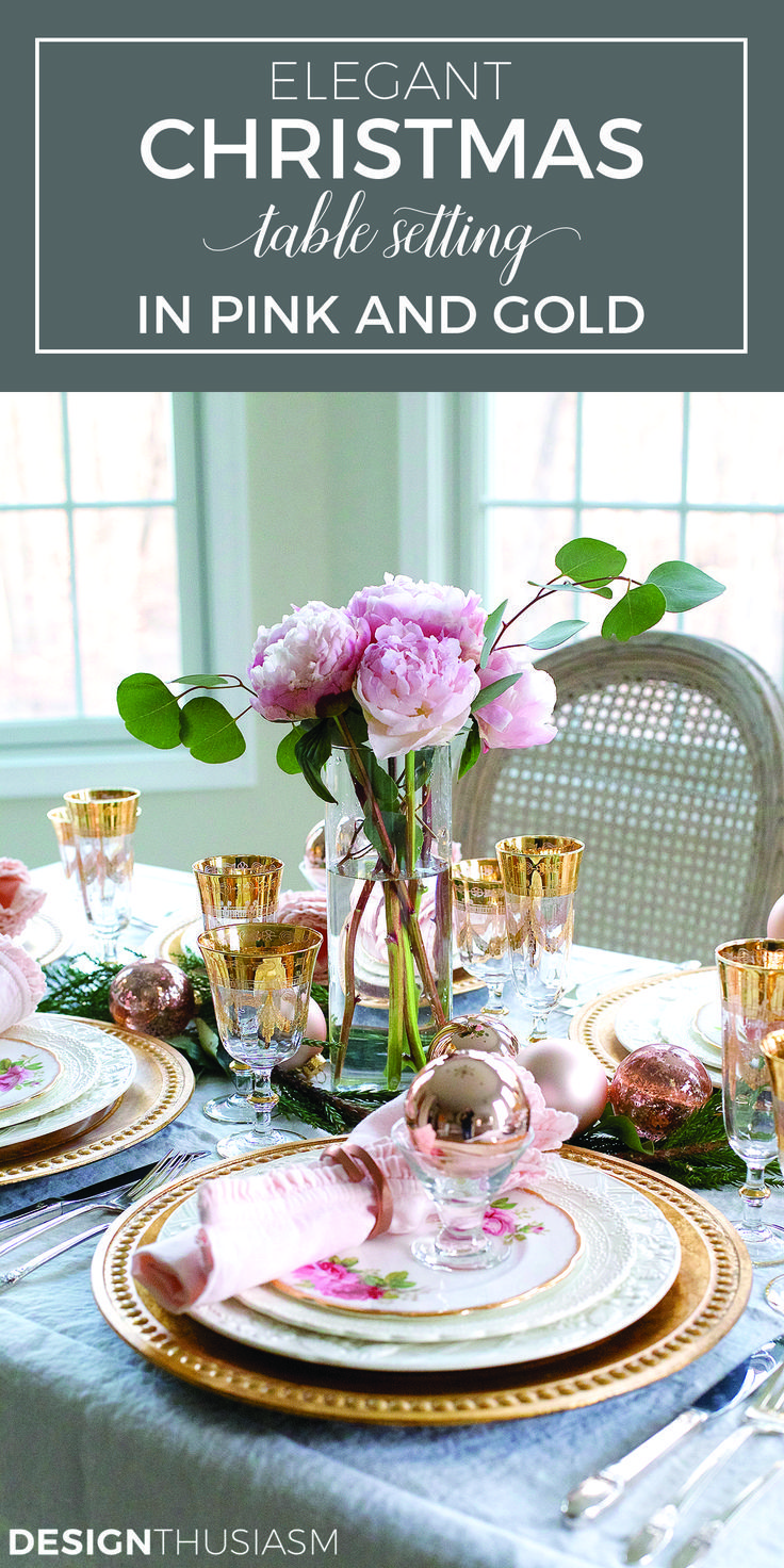 Elegant Christmas Table Setting With Pink And Gold Pink Christmas Table Christmas Table Settings Gold Holiday Table