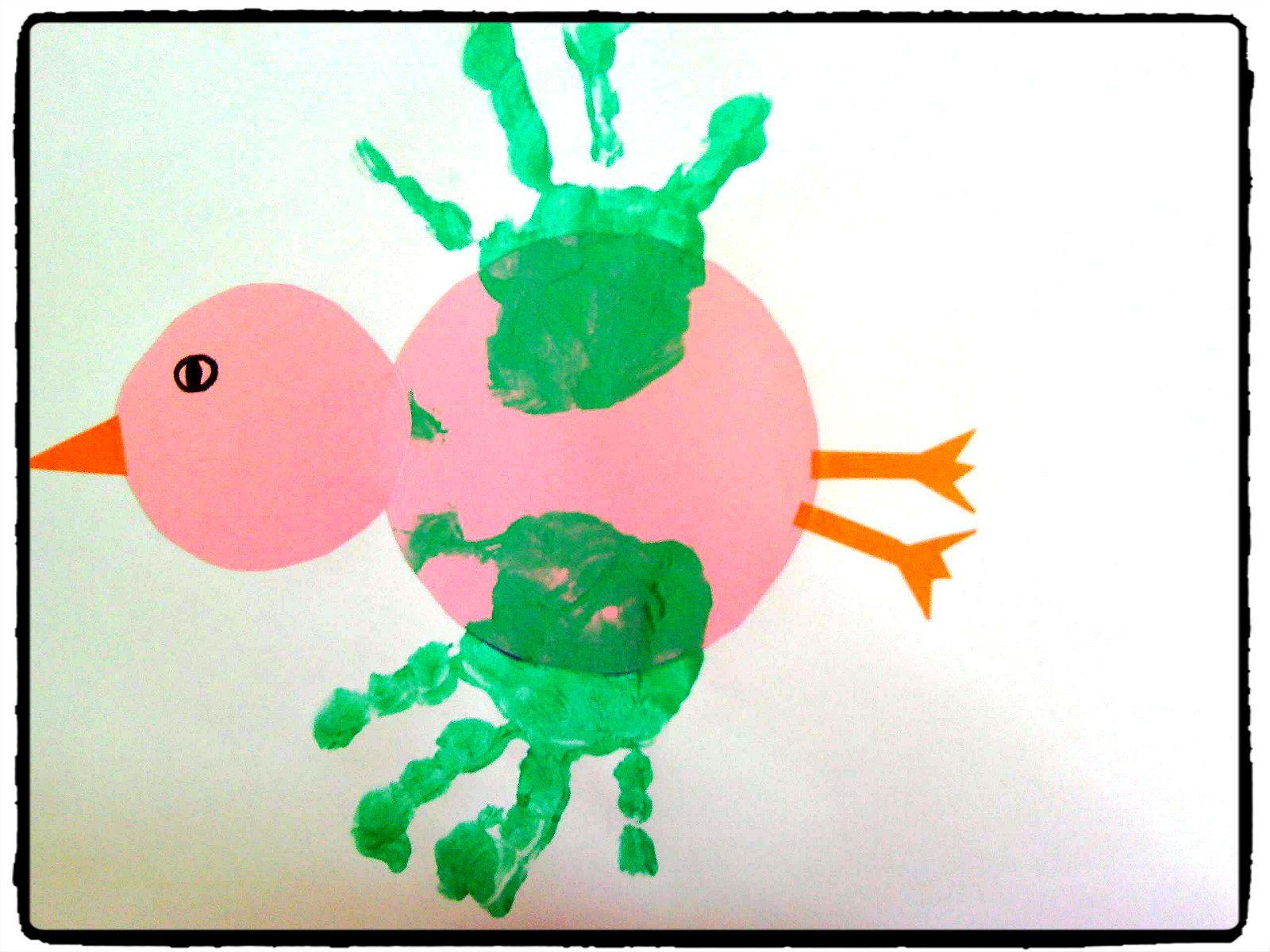 Top bricolage enfant, empreintes de mains, peinture, oiseau | Animaux  GU73