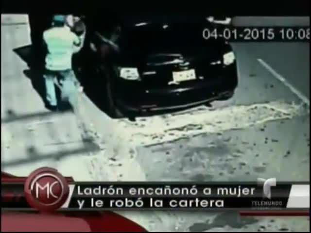Imágenes Del Momento En Que Un Ladrón Le Roba La Cartera A Punta De Pistola A Una Mujer En San Cristóbal #Video