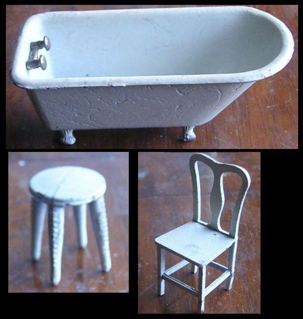 tootsie toy doll house 1930s bathroom t back chair bathtub and