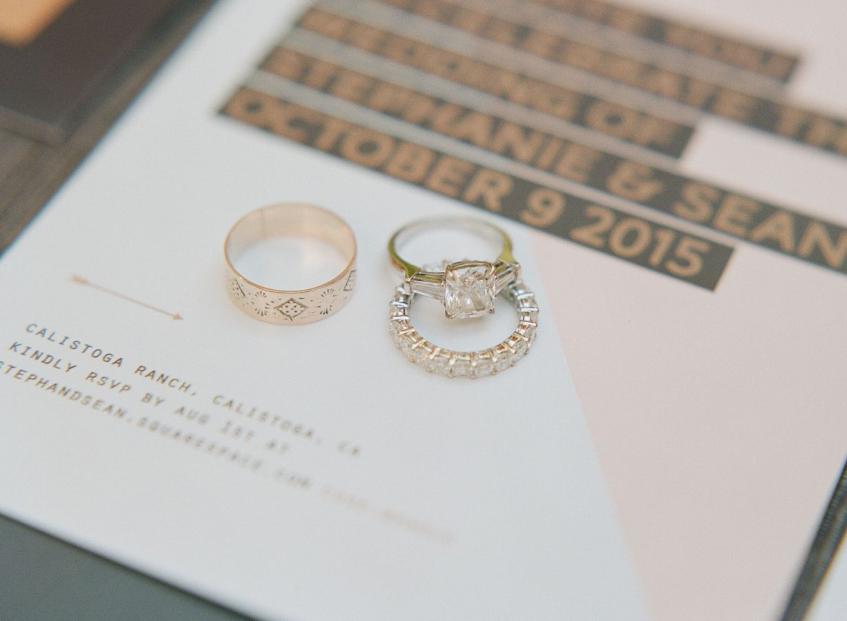 Gorgeous engagement ring + wedding bands: http://www.stylemepretty.com/2016/04/27/wedding-set-in-a-candlelit-wine-cave/   Photography: Sylvie Gil - http://www.sylviegilphotography.com/