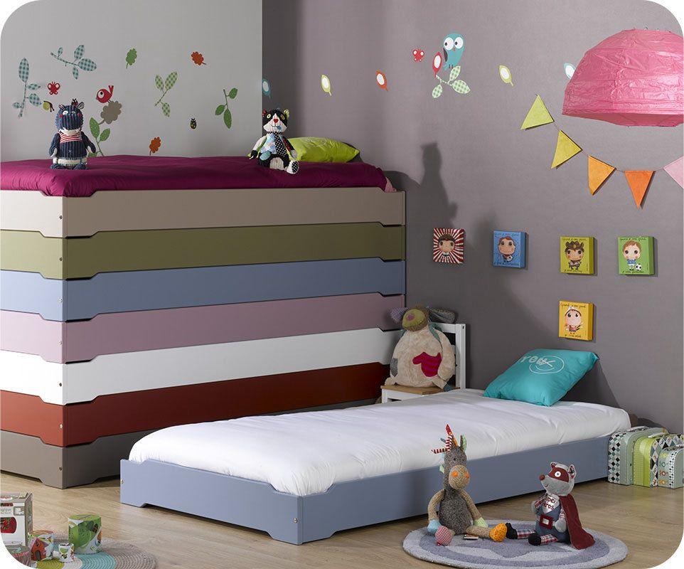 Lit enfant empilable bleu en bois massif -ma Chambre d\'enfant .com ...