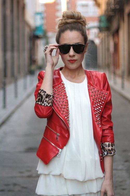 Red leather jacket with studs and leopard | www.themoderncool.com