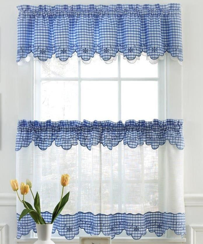 Blue Green Kitchen Curtains: Home Window Kitchen Curtains