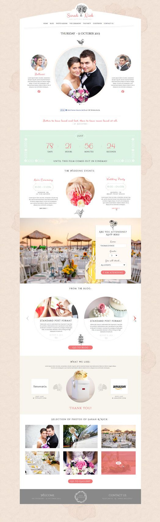 One Page Wedding Website Elegant Feminine This Design Is Perfect For Cly S Who Love Clear Modern
