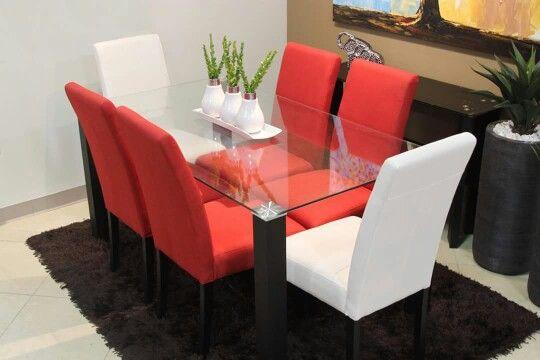 Juego de comedor negro combinado con rojo y blanco  Home en 2019  Dining chairs Red y Dining