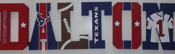 Houston Texans Nfl Themed Wall Letters By Silversprout On Etsy 12 00 Letter Wall Houston Texans Gifts Texans