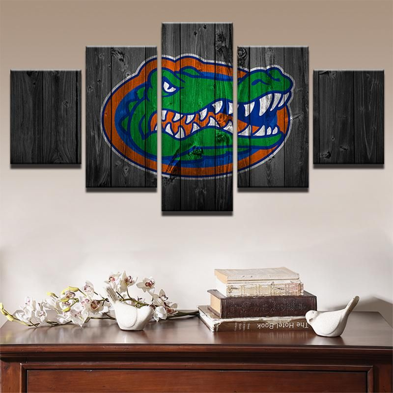 Florida Gators College Football 5 Panel Wall Art On Canvas Print Customized Canvas Art Canvas Wall Art Modern Wall Art Canvas