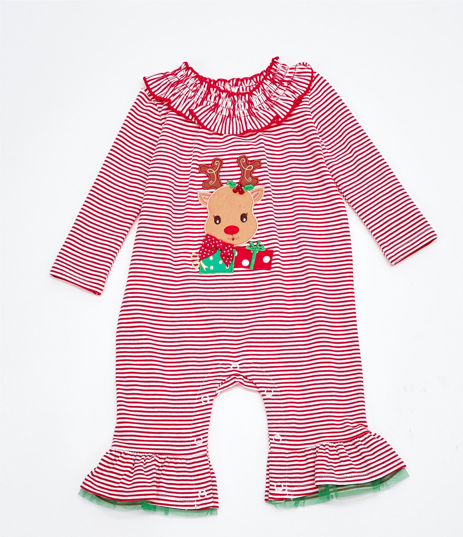 Photo of Bonnie Jean Baby Girls Newborn-24 Months Long-Sleeve Reindeer-Applique Striped Knit Coverall – Red 18 Months