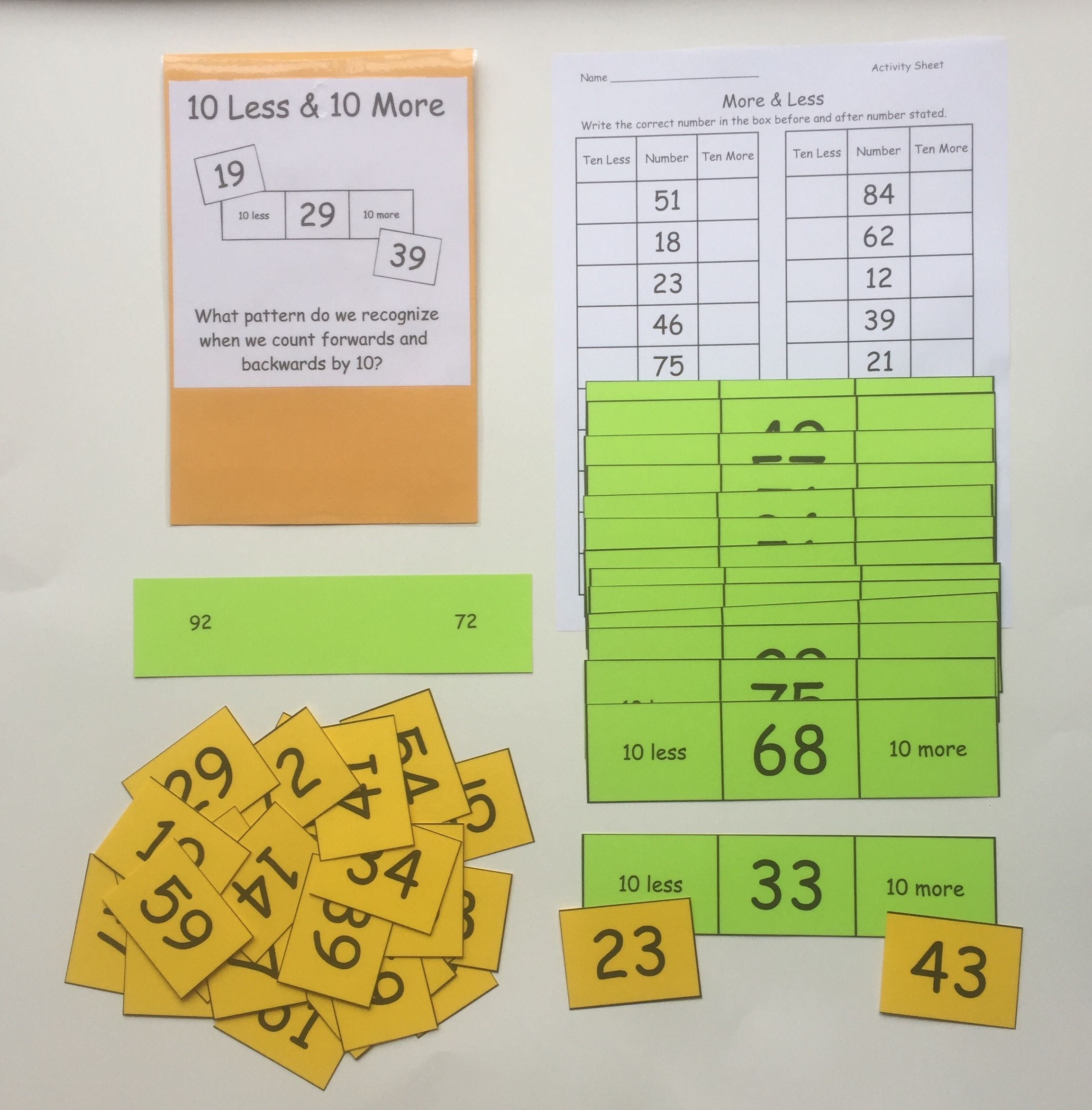 10 More Amp 10 Less First Grade Help Students Practice