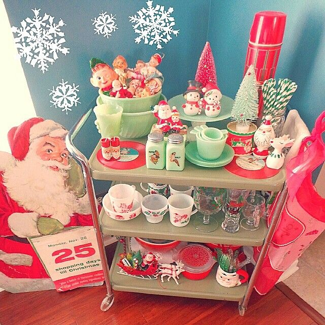 Retro Christmas Decorations Ideas: Christmas Bar Cart! Would Work For Snack Bar Cart As Well
