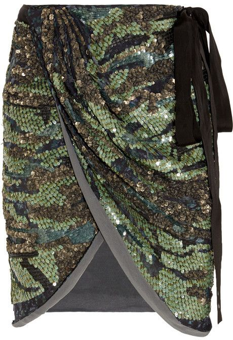 10a3f89f89a3 Isabel Marant Elmira sequined silk-georgette mini wrap skirt on shopstyle .com