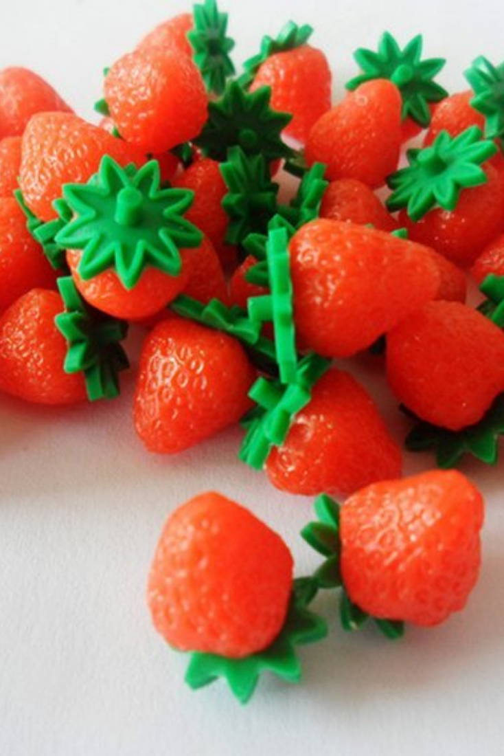10 Polymer Clay Cabochons Strawberry Flat Backs Large 20mm Slime Charms Flatback