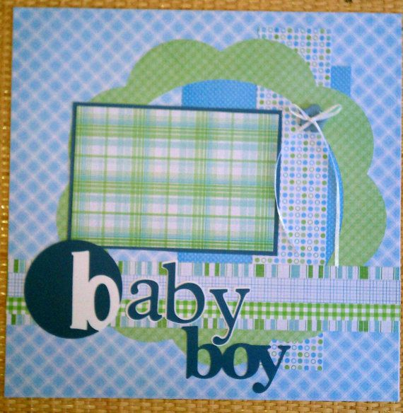 Baby+Boy+12x12+premade+scrapbook+page+layout+by+ohioscrapper,+$15.00
