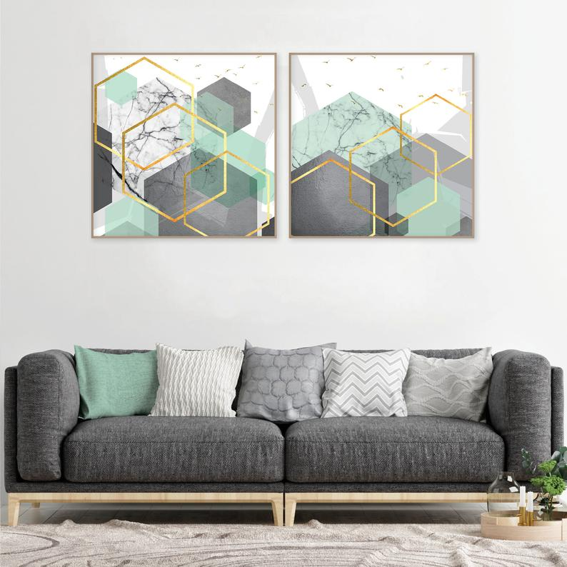 Set Of 2 Mint Green Grey Gold Downloadable Geometric Square Prints Geometric Wall Art Abstract Geometric Hexagon Art Large Square Posters Mint Green Bedroom Mint Living Rooms Green Home Decor