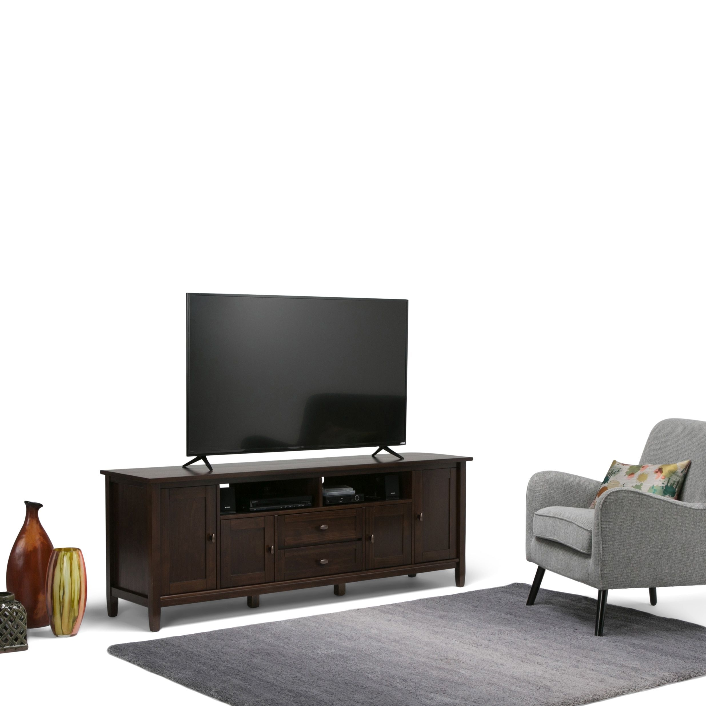 Wyndenhall Norfolk 72 Inch Tv Stand For Tvs Up To 80 Inches Tobacco