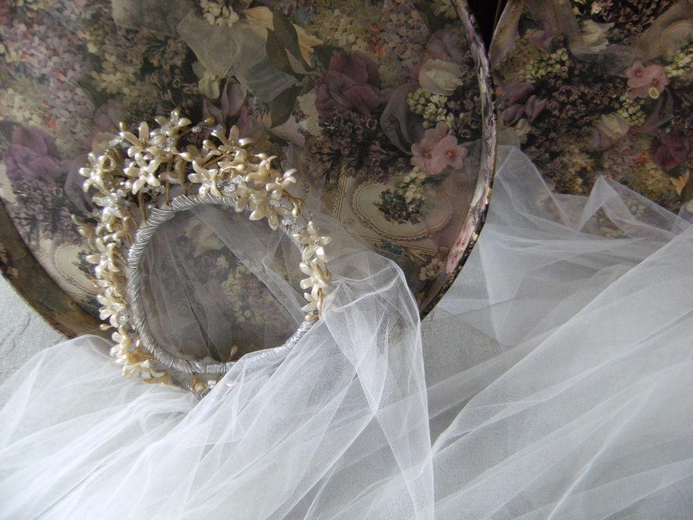 VINTAGE 1940S WEDDING WAX FLOWER HEAD PIECE W/ NEW FRAME