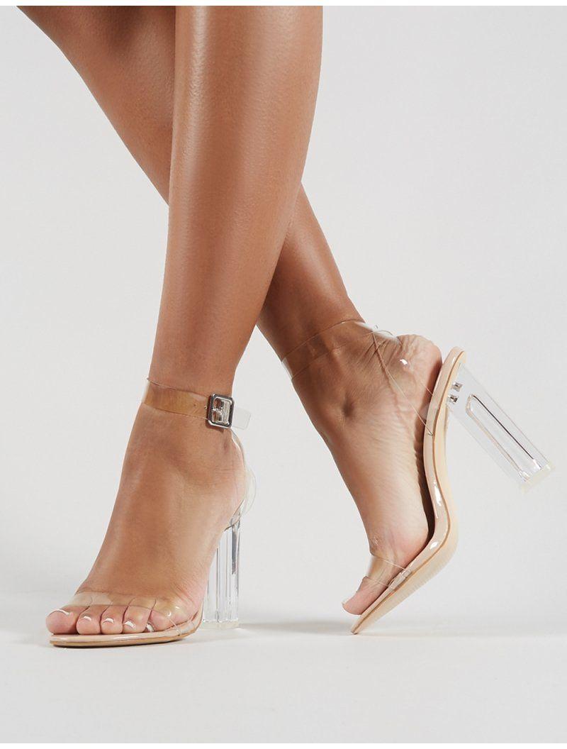 6ce95b5a78f Alia Strappy Clear Perspex High Heels in Nude in 2019   À acheter ...