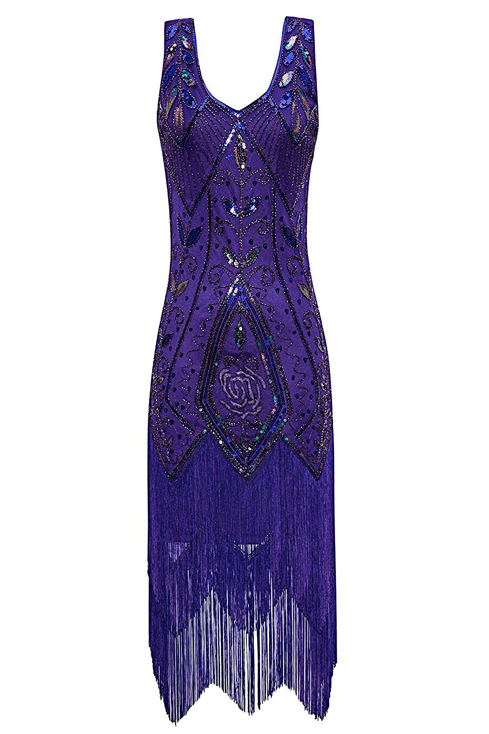 76b0aef7c05a Amazon.com  Metme Women s 1920s Vintage Flapper Fringe Beaded Great Gatsby  Party Dress
