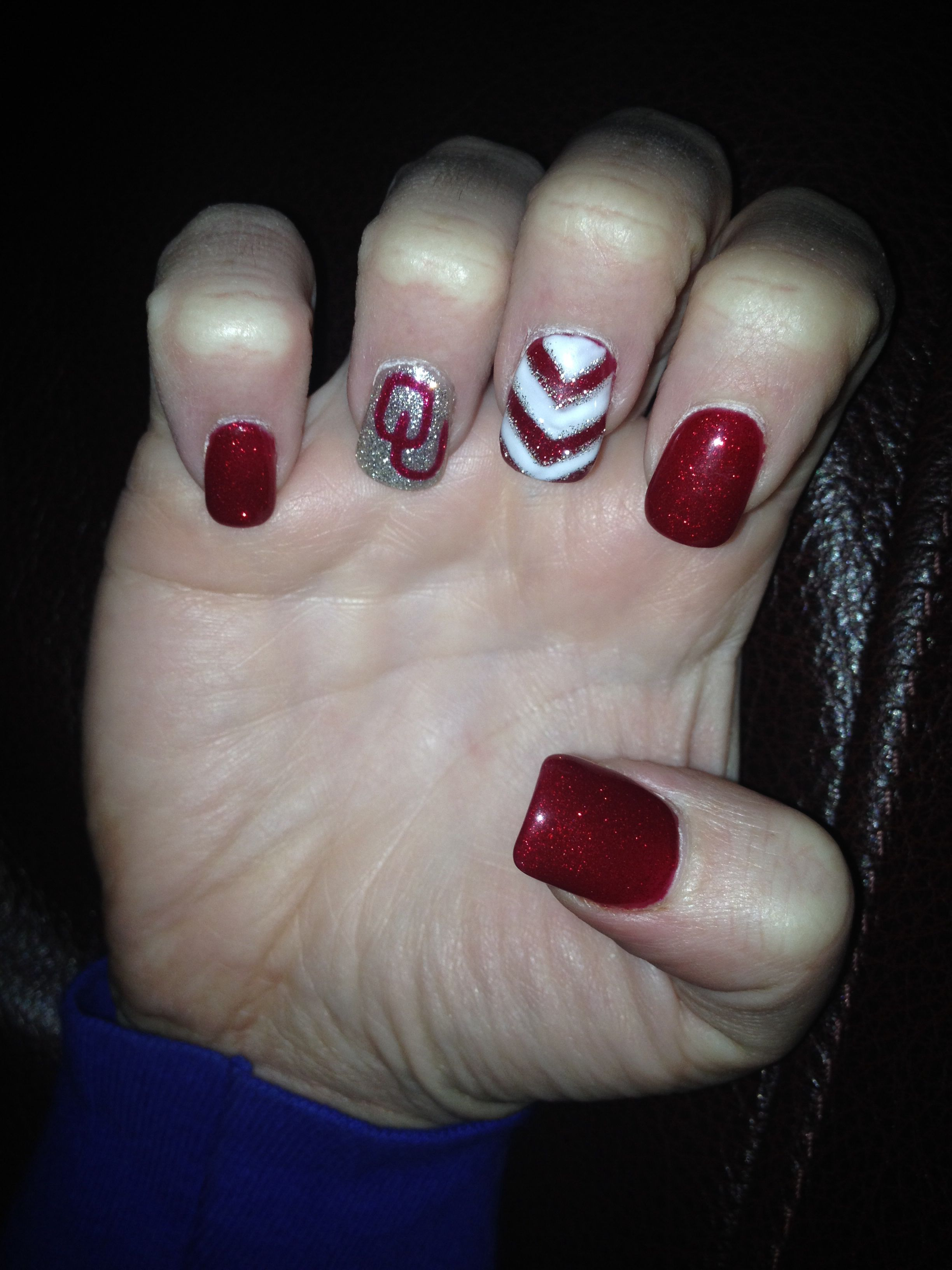 OU Boomer Sooner nails! | NaiL ArT | Pinterest | Short nails, Nail ...