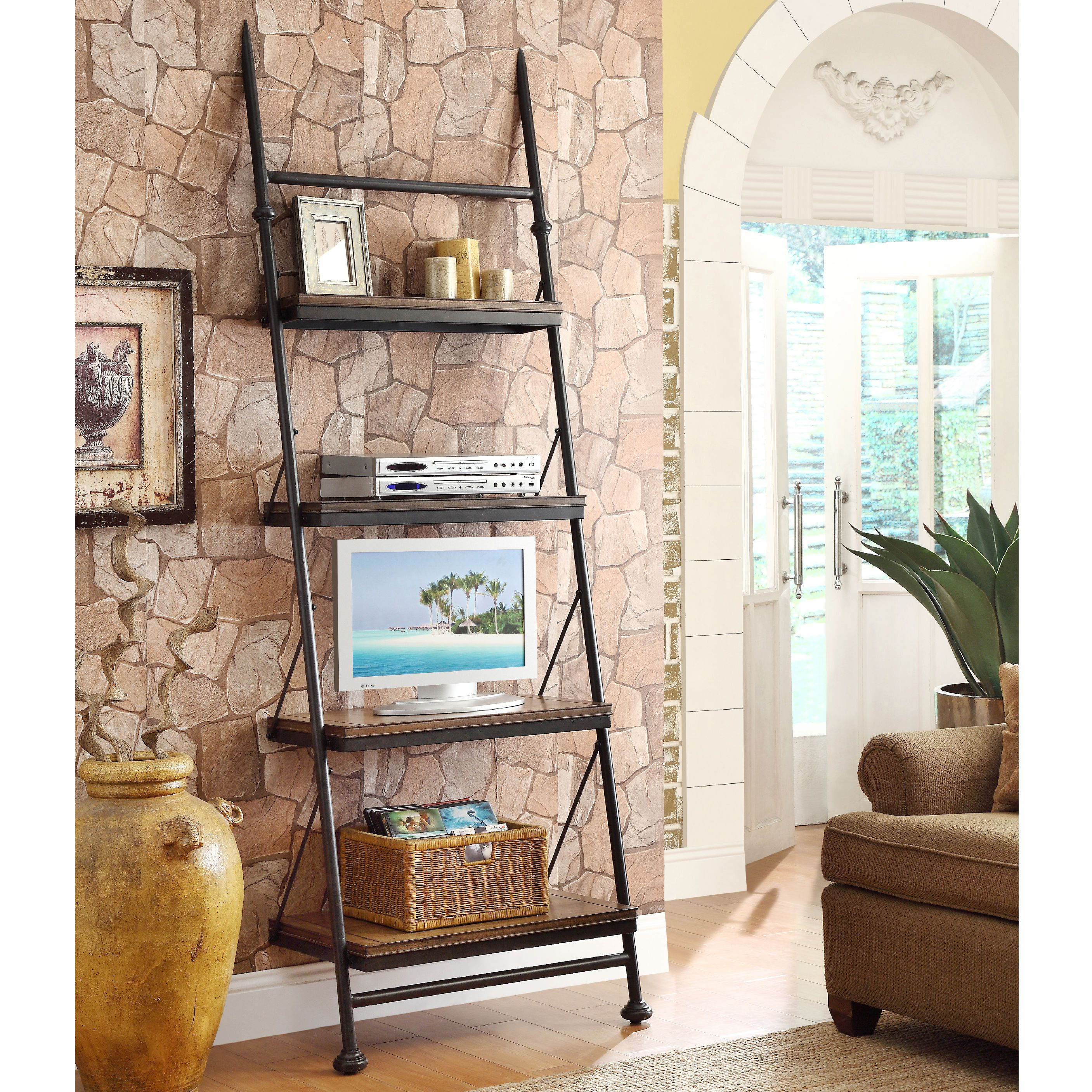 altra viendoraglass com black metal dwelling set of leaning bookshelf ikea ladder white bookcase desk and