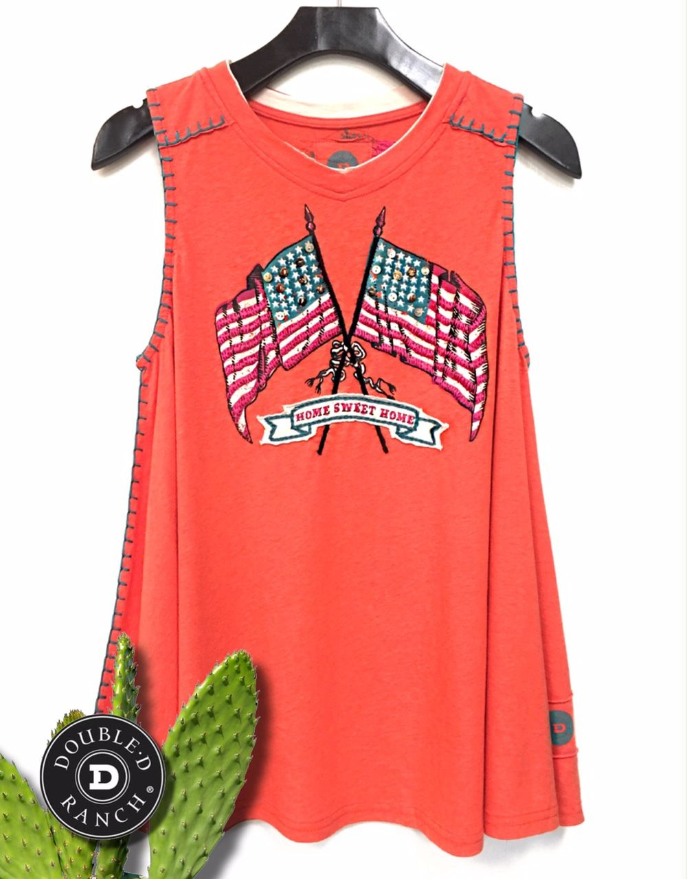 Double D Ranch Home Tank in Apricot - Dusty Diamonds Boutique