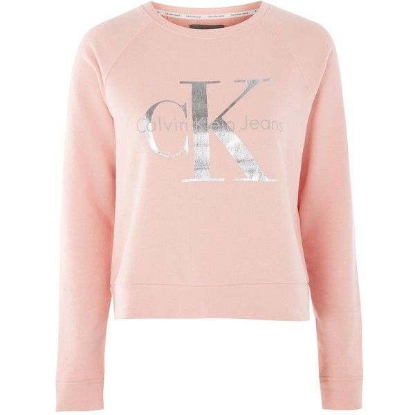 Foil Logo Crew Sweatshirt By Calvin Klein 170 Liked On Polyvore Featuring Tops Pink Crewneck Sweatshirt Long Sleeve Cotton Tops Calvin Klein Sweatshirts