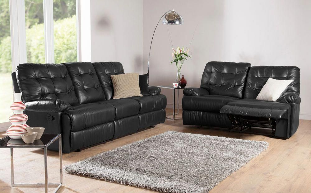 Montrose Leather Recliner Sofas In Black At Furniture Choice From 349 99 Furniture Choice Buy Leather Sofa Leather Sofa