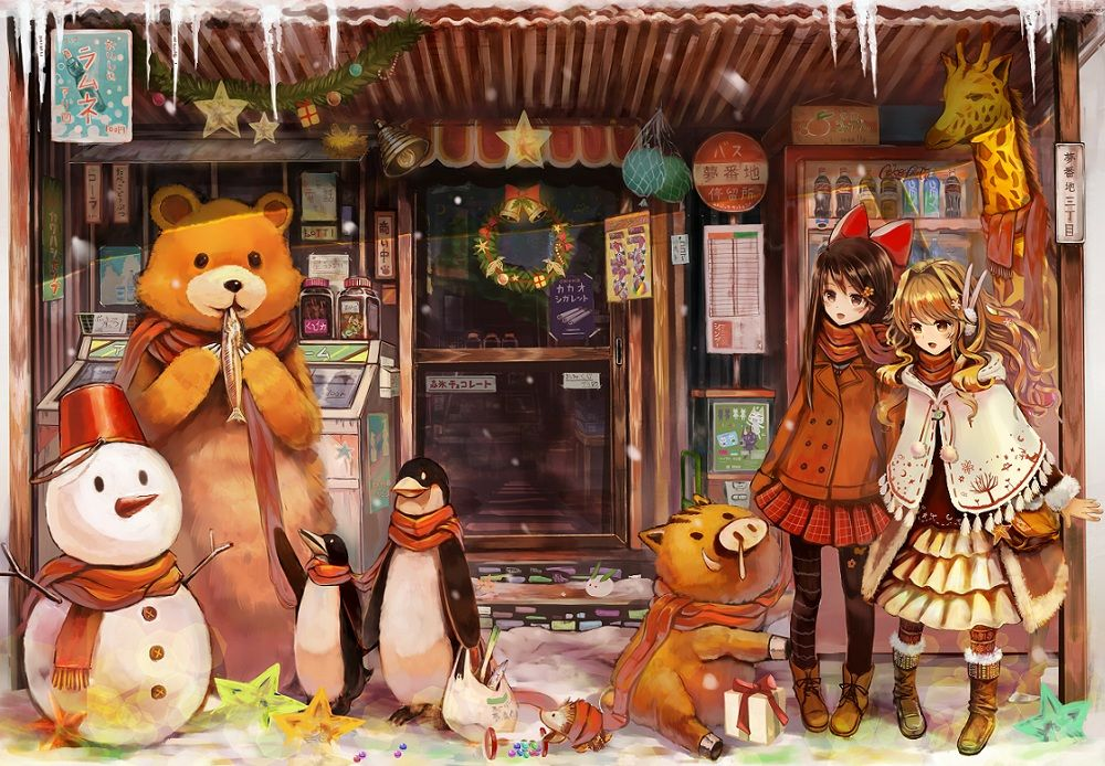 Original Christmas Anime Wallpaper by Akabane mangaka. fancy ...