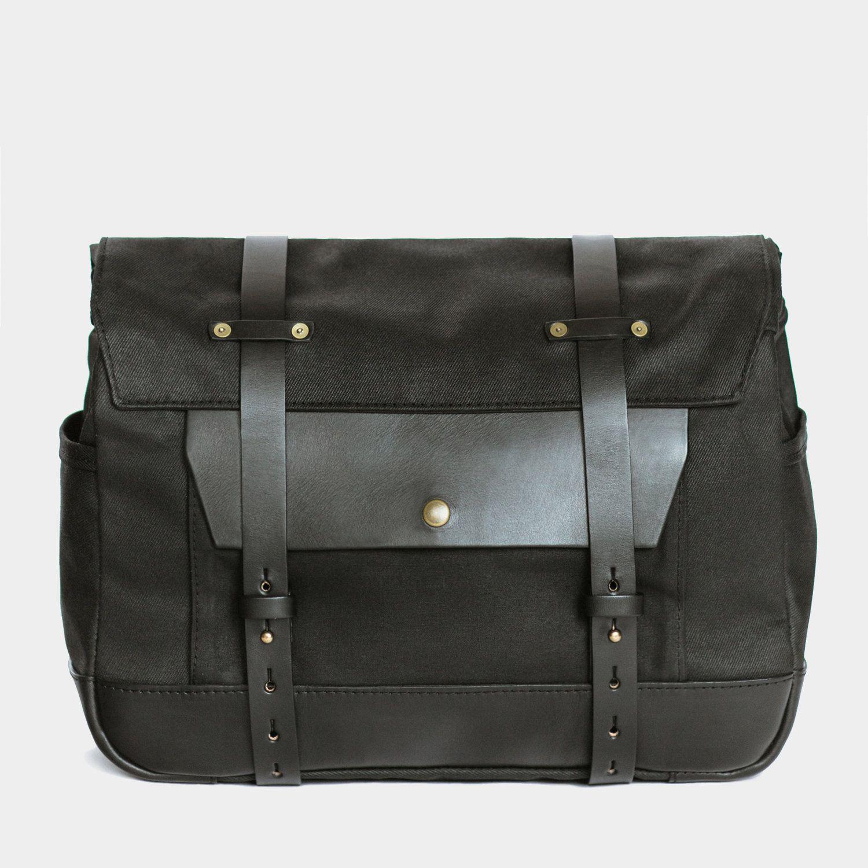 Photo of Saddlebag    Black Twill / Black Leather   — Pack Animal