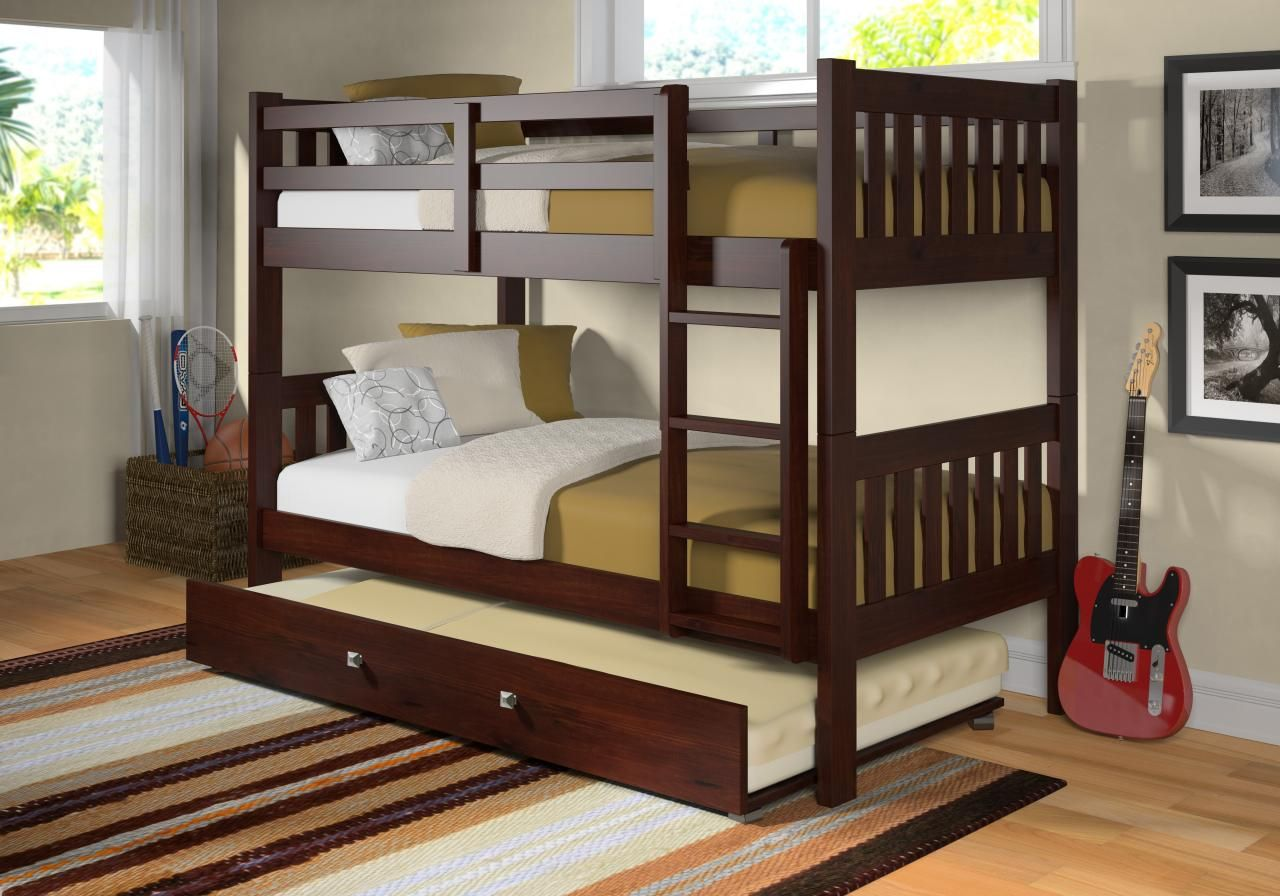 Modern Furniture Furniture Cozy Wooden Bunk Bed With Trundle Set