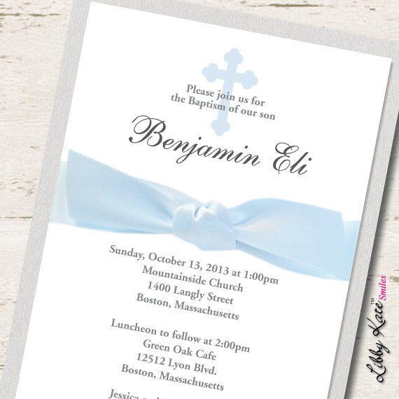 boy baptism invitation christening blue