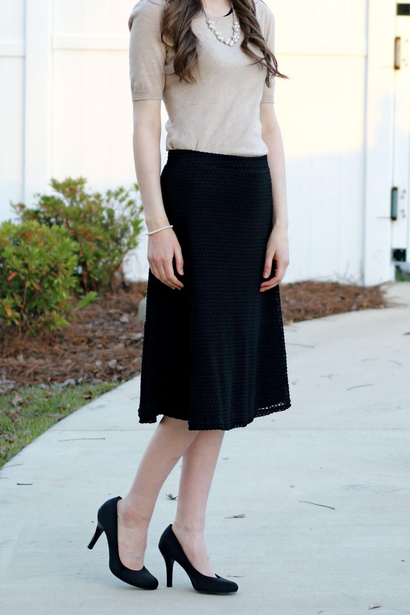Modest Outfit Idea//Black Midi Skirt//Tan Sweater//Black Heels