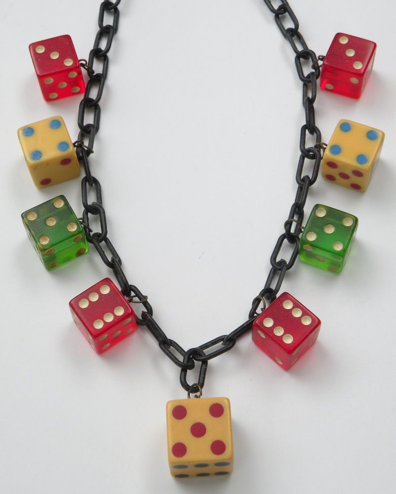 Vintage red green and tri colored bakelite dice charm necklace #charmnecklace