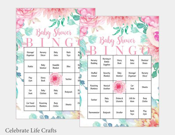 60 Baby Bingo Cards   Pink Floral Baby Shower Bingo Game   Prefilled Cards    Instant Download   Girl Baby Shower Games B33001