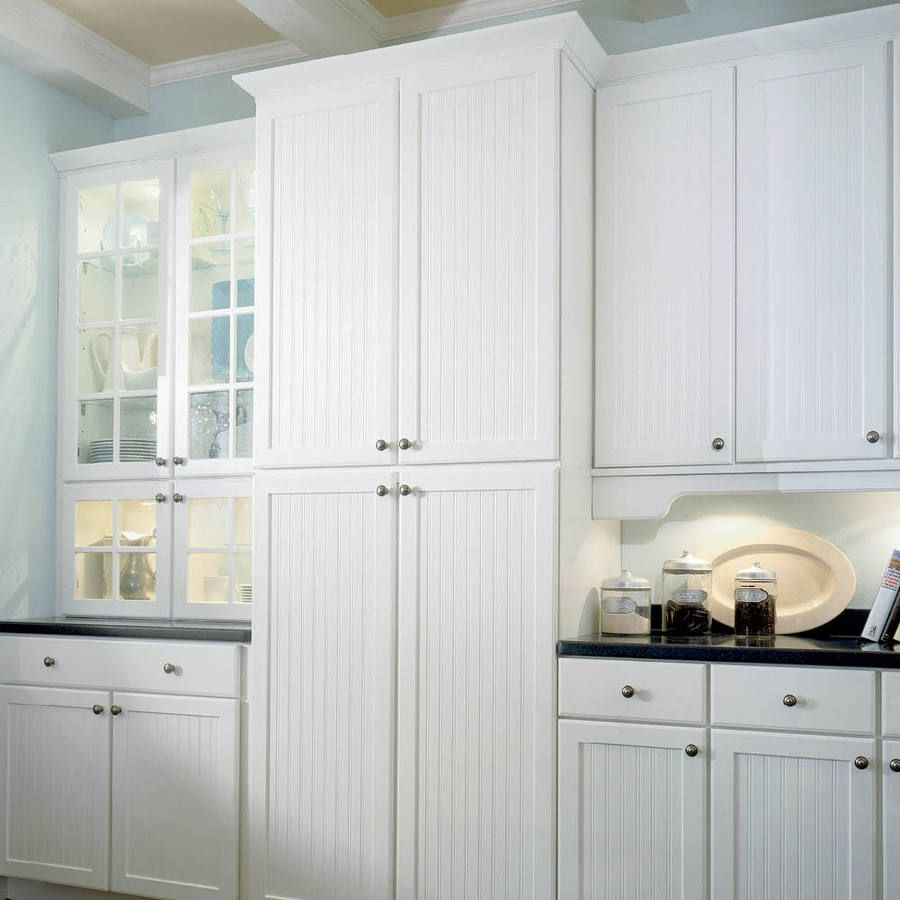 Shop Shenandoah Cottage 14 5 In X 14 5 In White Composite Square Cabinet Sample At Lowes Com Beadboard Kitchen Cottage Kitchen Cabinets Cottage Cabinet