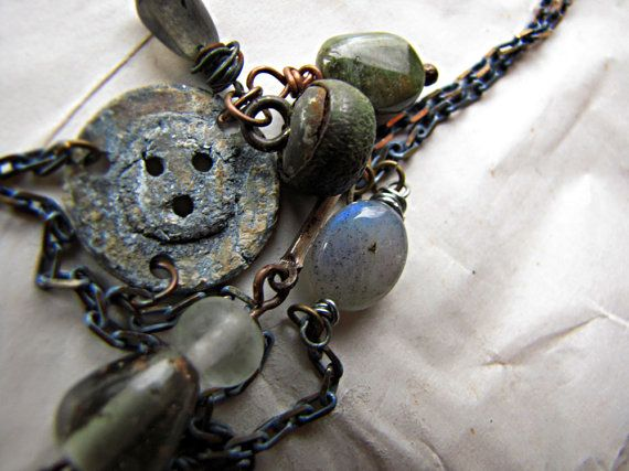Relic  antique button necklace  labradorite  by sparrowsalvage