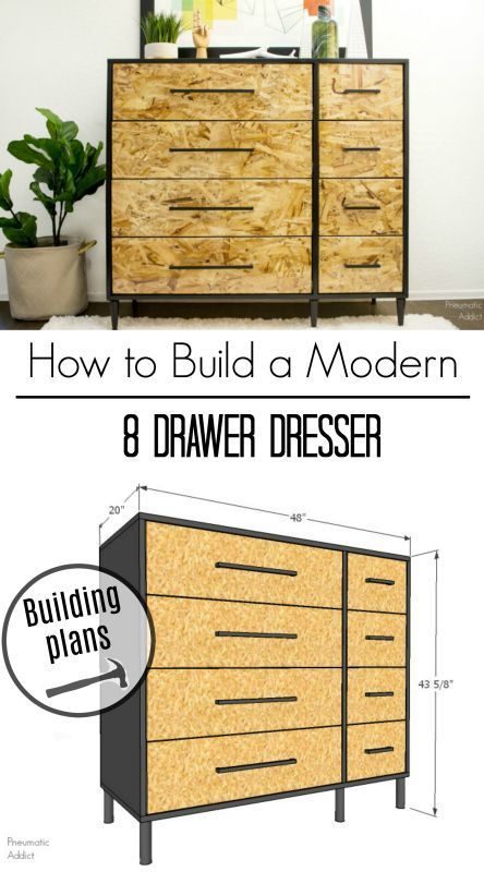 How To Build A Simple Modern Dresser With 8 Ious Drawers Free Building Plans