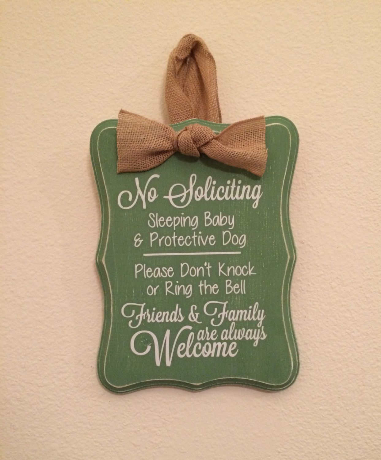 Hand Painted Distressed No Soliciting Sign Baby Sleeping by MeganRileyDesigns on Etsy https://www.etsy.com/listing/214614601/hand-painted-distressed-no-soliciting