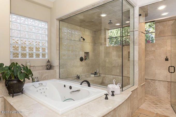 traditional master bathroom with 2x2 travertine mosaic tile (light
