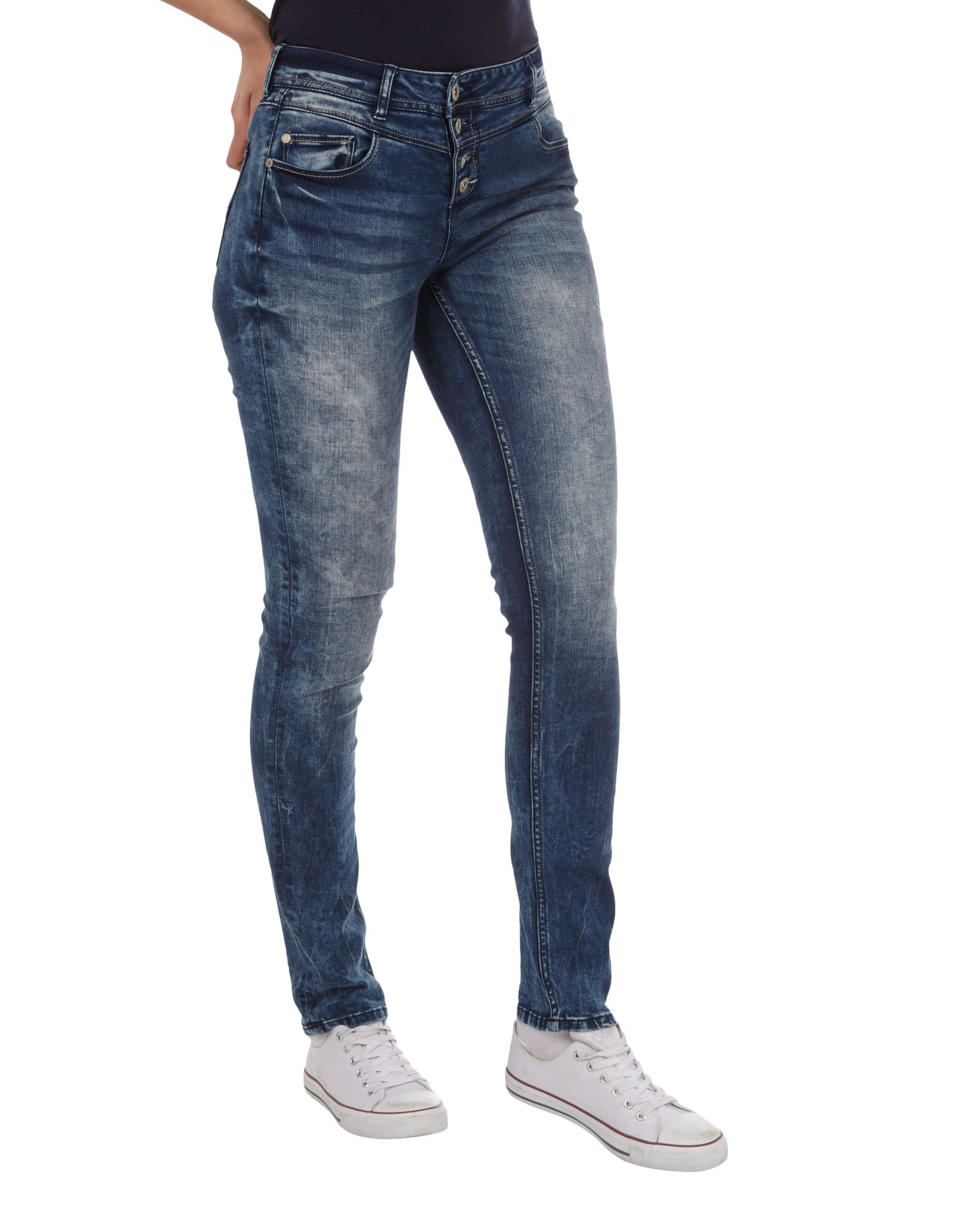 Jeans Takko Washed Stickereien Slim Fashion Stone Damen Fit Mit SUqzVMpG