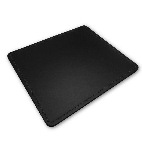 Tappetino Mouse Pad in cuoio nero con angoli arrotondati di Eglooh