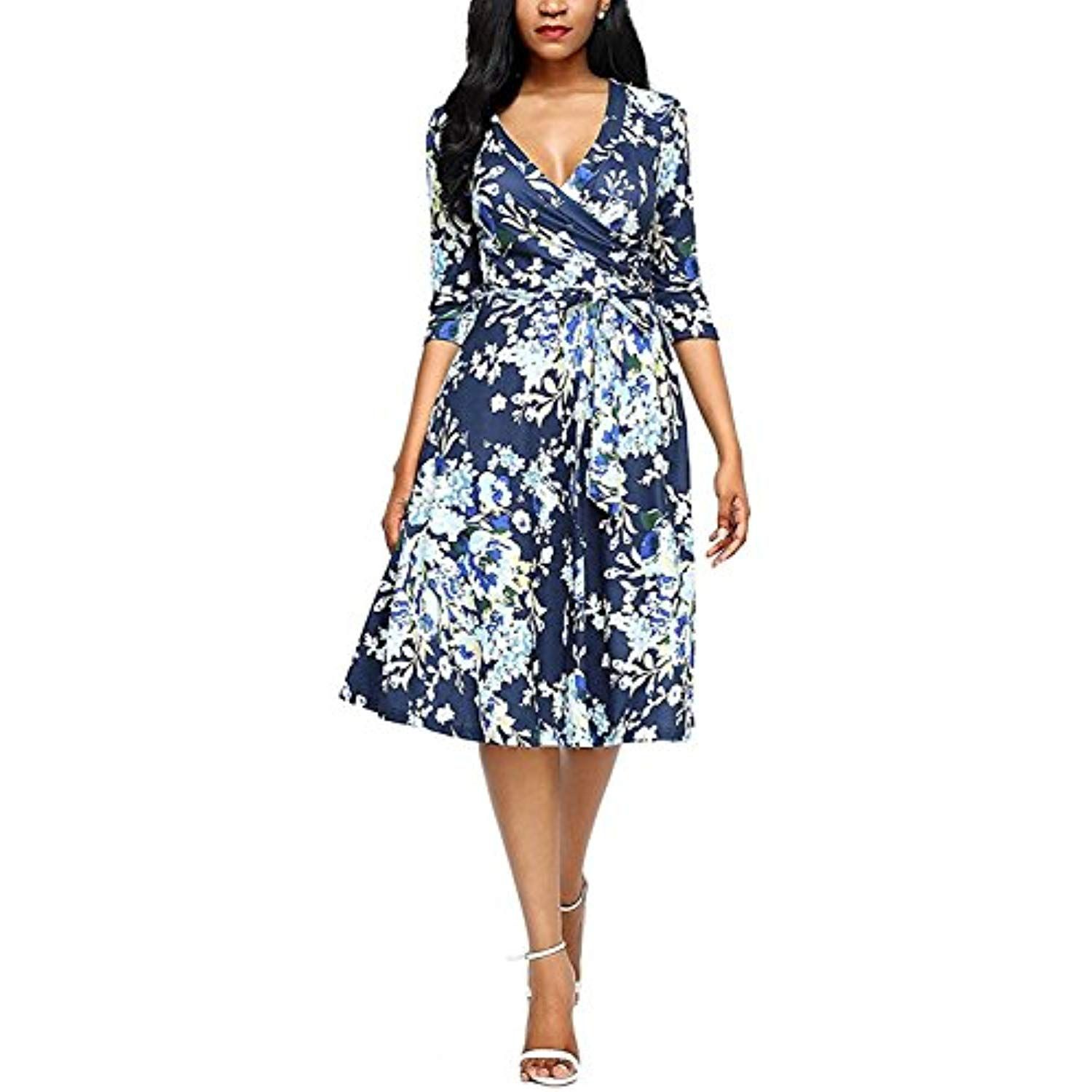 Women S Fall 3 4 Sleeve V Neck Boho Floral Casual Below The Knee Midi Dress Be Sure To Check Fashion Dresses Online Fitted Floral Dress Shop Casual Dresses [ 1500 x 1500 Pixel ]