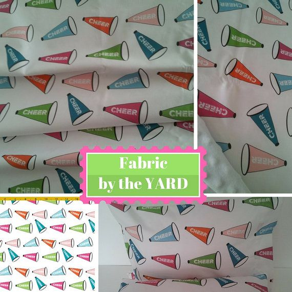 Fabric By The Yard 2 Colorways Cheer Megaphones Blue Pink Green