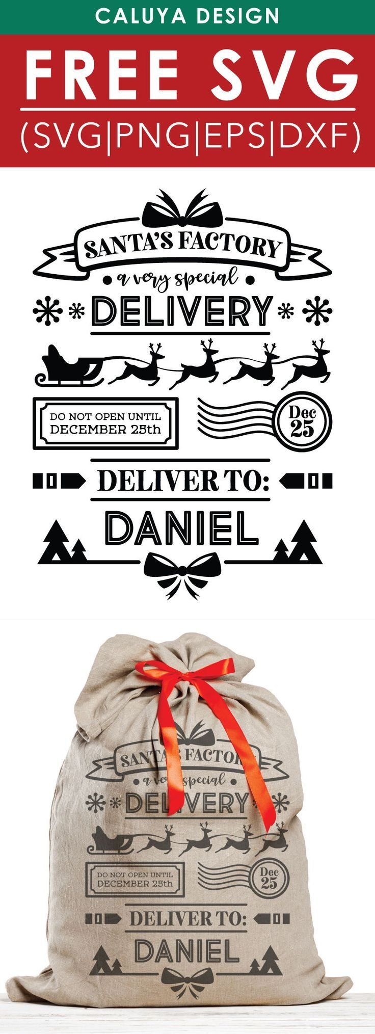 Free Santa Bag I SVG, PNG, EPS & DXF by How to make