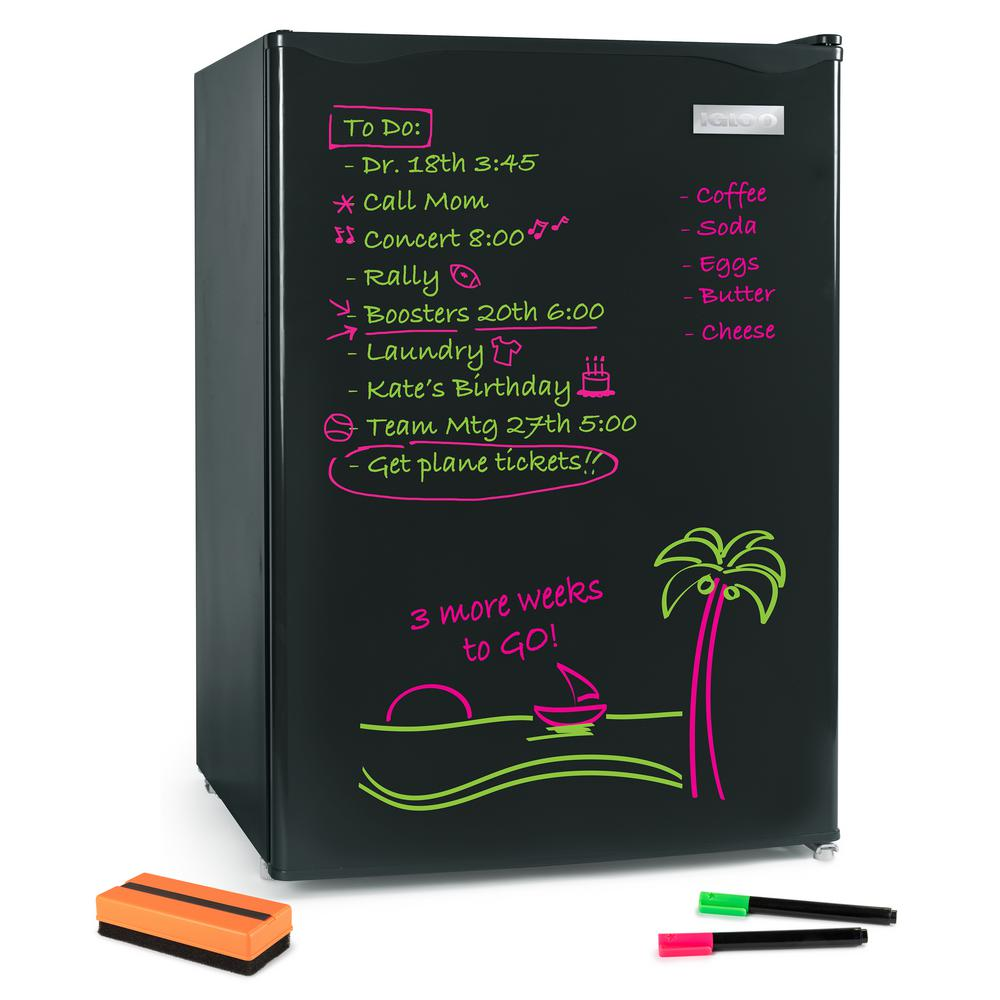 Igloo 2 6 Cu Ft Dry Erase Board Mini Fridge Black Irf26ebbk The Home Depot In 2020 Mini Fridge Mini Fridge With Freezer Dry Erase Board